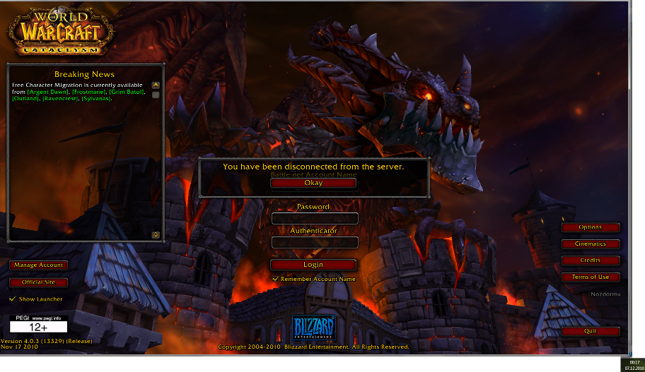 WoW Login server down shortly after midnight of Cataclysm Release